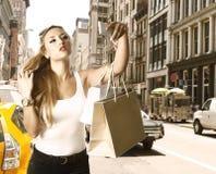 Blond tourist girl selfie photo in Soho New York Stock Photos