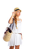 Blond tourist girl summer  beach white dress Royalty Free Stock Photography
