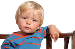 Blond two year old boy. Cute blond two year old boy on white background Stock Images