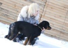 Blond u. Rottweiler Stockfotografie