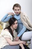 Blond und Brunette aufwerfend im Studio Lizenzfreies Stockfoto