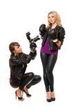Blond und Brunette mit der Kamera Stockbild