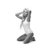 Blond underkläderskönhet Fotografering för Bildbyråer
