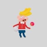 Blond unge som rymmer en boll och en röd godis arkivbild