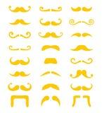 Blond uppsättning för mustasch- eller mustaschvektorsymboler Royaltyfri Bild