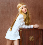 Blond vintage 70s kid girl retro Royalty Free Stock Image