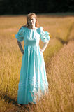 Blond in vintage dress in the autumn Royalty Free Stock Photo
