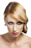 Blond vintage girl portrait, she is attractive Royalty Free Stock Images
