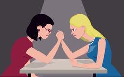 Blond vs. brunette. Brunette and blond women arm wrestling, illustrating cultural stereotype, vector illustration Stock Photos