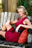 blond włosy smokingowa czerwona kobieta Zdjęcie Royalty Free