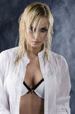 The blond with white bra Royalty Free Stock Photography