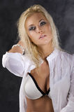 The blond with white bra Stock Images