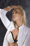 The blond with white bra Stock Photography