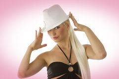 Blond and white fedora Royalty Free Stock Photos