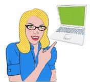 Blond wijfje met laptop stock illustratie