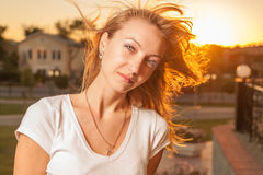 Blond wind sunset Stock Photo