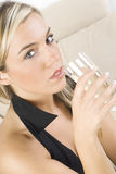 The blond and the wine stock image