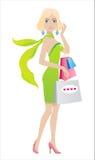 Blond winkelen vector illustratie