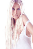 Blond woman. Young blond woman on white background Royalty Free Stock Photos
