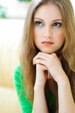 Blond woman. Portrait of young blond woman with long hair stock images