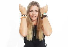 Blond woman advertises greek jewelry Royalty Free Stock Photos