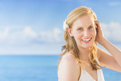 Blond Woman Against Sea At Beach Stock Images