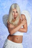 Blond woman angel freezing Royalty Free Stock Photo