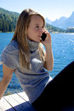 Blond woman angry on the phone Royalty Free Stock Photo