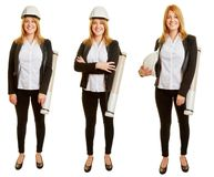 Woman as an architect in different positions stock photography