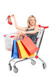Blond woman with bags posing into a shopping cart Stock Photo