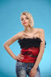 Blond woman with bare shoulders Royalty Free Stock Photo