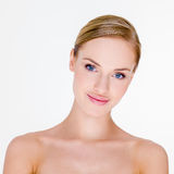 Blond Woman with Bare Shoulders in Studio Stock Photography
