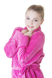 Blond woman in bathrobe Stock Photography
