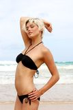 Blond woman at the beach. Stock Photos