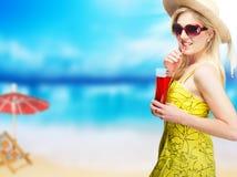 Blond woman on beach Royalty Free Stock Photos