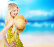 Blond woman on beach Royalty Free Stock Images