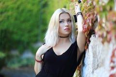 Blond woman. Beauitul blond woman posing near castle wall stock image