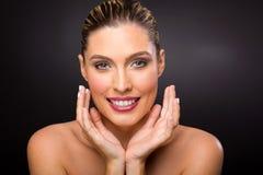 Blond woman beauty shot Stock Photo