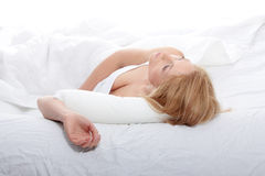 Blond woman in bed. Portrait of pretty sexy blond woman in bed Royalty Free Stock Photo