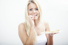 Blond woman in bed Royalty Free Stock Photo
