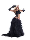 Blond woman in black east oriental costume Stock Image