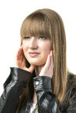 Blond woman with black leather jacket Royalty Free Stock Photography