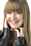 Blond woman with black leather jacket Royalty Free Stock Images