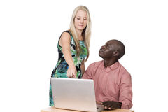 Blond woman and black man Royalty Free Stock Image