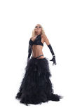 Blond woman in black oriental costume Royalty Free Stock Photos
