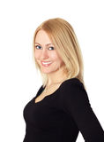 Blond woman in black. Blond woman in black, portrait on white background Royalty Free Stock Photos