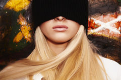 Blond woman with a blindfold Royalty Free Stock Photos