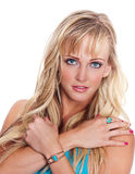 Blond woman with blue eyes royalty free stock image
