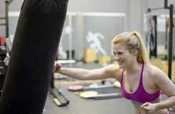 Blond woman boxing Stock Photography