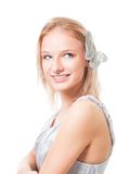 Blond woman with butterfly in her hairs Stock Photo